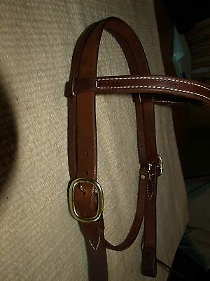 """Western harness leather 1"""" cheek browband bridle headstall OILED cowboy H1010"""
