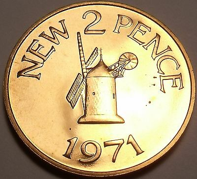 Large Rare Prooof Guernsey 1971 2 Pence~Only 10k Minted~Windmill from Sark~Fr/Sh
