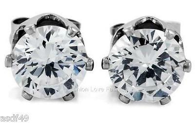 Clear Round CZ Cubic Zirconia Magnetic Clip On Stud Earrings Men Women 4mm 10mm