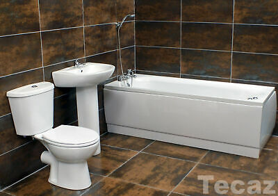 Complete Bathroom Suite with Basin & Toilet Set + Taps + Choice of Bath Sizes