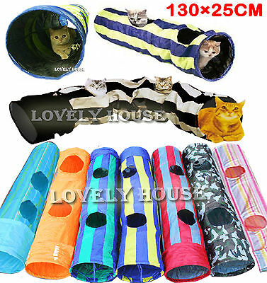 Folding Pet Cat Rabbit Fun Tunnel with TWO Holes Pop Out 130cm x 25cm Multicolor