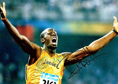 Usain Bolt SIGNED AUTOGRAPH Gold Medal 100m Olympic Athlete HUGE Photo AFTAL COA