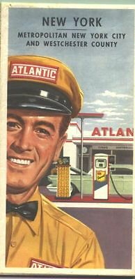 1960 Atlantic New York Vintage Road Map