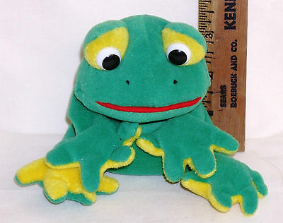 """Stuffed Frog Bean Bag with Plastic Eyes, about 5"""" tall sitting"""