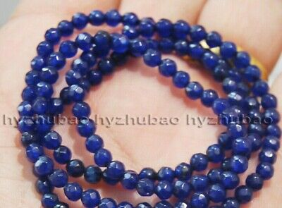 """Wholesale 5 Strand 4mm Faceted Blue Sapphire Gemstones Round Loose Beads 15"""" AAA"""