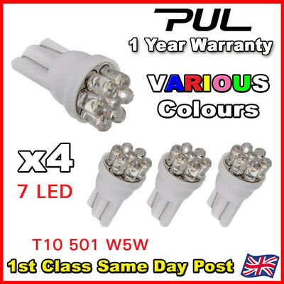4 X 7 LED 501 T10 W5W SIDELIGHT / NUMBER PLATE / INTERIOR BULBS - Super Bright
