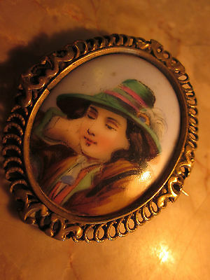 l Antique Victorian Handpainted  Porcelain  Pin with Ornate Frame
