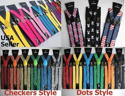 (All colors) Mens Womens Clip-on Suspenders Elastic Y-Shape Adjustable Braces