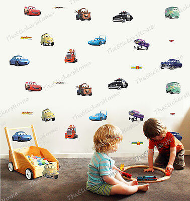Disney CARS 28pcs Wall Stickers Boys Room Decor Nursery Kids Lightning McQueen