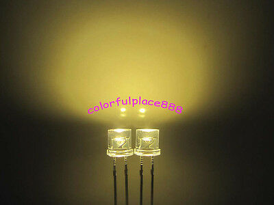 100pcs 5mm Warm White Flat Top LED 10000mcd Wide Angle Water Clear Lamp leds New