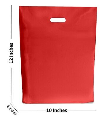 100 - RED PLASTIC BAGS / GIFT SHOP CARRIER BAG - 9 x 12 INCHES