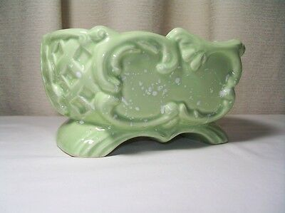 Art Nouveau Style Planter Vintage Mid Century Green w/ White Arched Base 234 USA