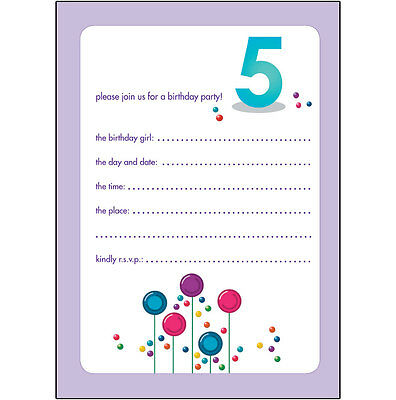 10 Childrens Birthday Party Invitations 5 Years Old Girl - CUTE! - BPIF-29 Candy