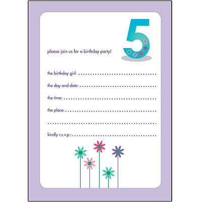 10 Childrens Birthday Party Invitations 5 Years Old Girl - NICE - BPIF-30 Flower