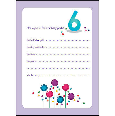 10 Childrens Birthday Party Invitations 6 Years Old Girl - CUTE! - BPIF-31 Candy