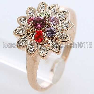 New Arrival 18K GP 1CT Multi-Color Crystal Flower Ring 95301 Free Shipping