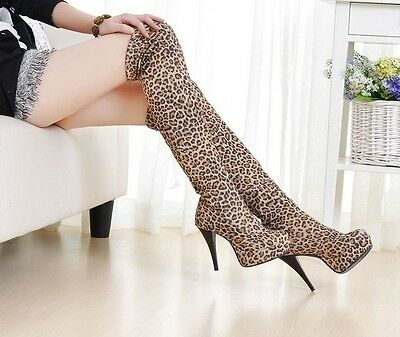 2012 Hot Sell Women's Fashion sexy leopards Over-the-Knee Boots Tip High boots#6
