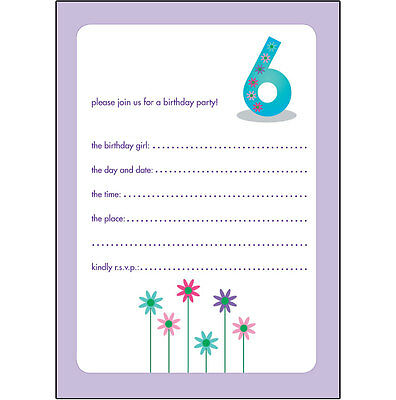 10 Childrens Birthday Party Invitations 6 Years Old Girl - NICE - BPIF-32 Flower