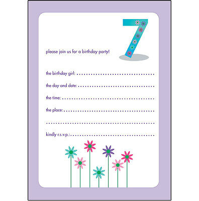 10 Childrens Birthday Party Invitations 7 Years Old Girl - NICE - BPIF-34 Flower