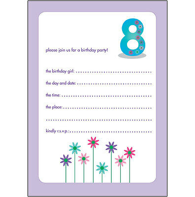 10 Childrens Birthday Party Invitations 8 Years Old Girl - NICE - BPIF-36 Flower
