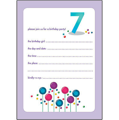 10 Childrens Birthday Party Invitations 7 Years Old Girl - CUTE! - BPIF-33Candy