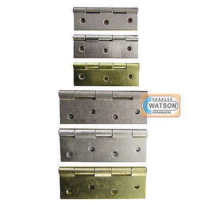 "3"" 4"" 75mm 100mm BUTT HINGE Pair Zinc Plated ZP Brass Self Colour Chrome Door"
