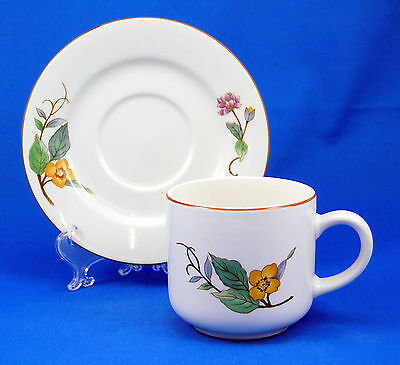 Citation WOODHILL Flat Cup and Saucer Set 3.125 in. Yellow Purple Flowers Brown