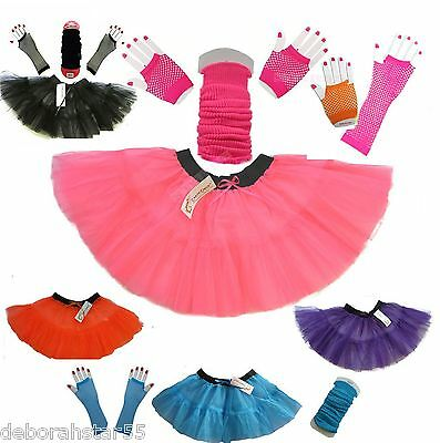 Girls 4-14 yr Neon Dance Tutu Leg Warmers Fishnet Gloves Fancy Dress Costume Set