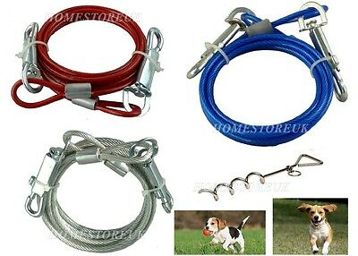 6Ft Tie Out Down Cable Lead Leash Extension Dog Pet Puppy Chew Proof Wire Camp