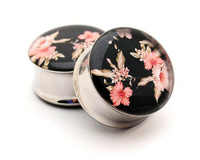 Pair of Vintage Floral Picture Plugs Style 5 gauges Choose Size new
