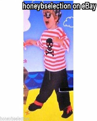 Kid's Red White Pirate Dressing Up Outfit (Age 3-5 approx) Fancy Dress Party