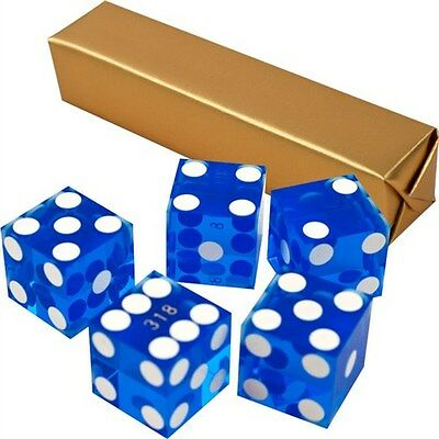 19mm Grade A Serialized Precision Casino Craps Dice - Set of 5 (Blue) Pro Dice