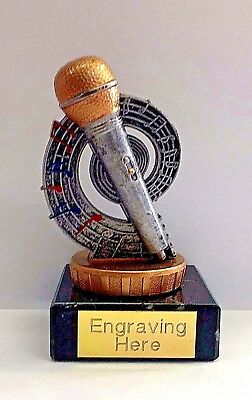 Karaoke silver Trophy + FREE Engraving + FREE P&P On Additional Trophies