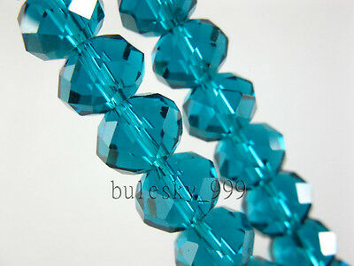 4~14MM Faceted Rondelle Loose Finding Glass Crystal Spacer Beads Peacock Blue
