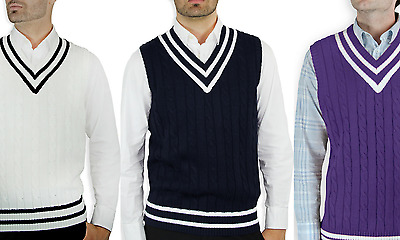 Blue Ocean Men's V-Neck Knit Cable Classic Cricket Sweater Vest (Sv-222)