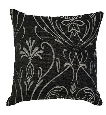 """Cushion Cover Black & Silver Choice of 2 Sizes 17"""" or 22"""""""