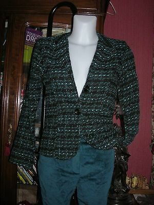 LOT veste jacket green tweed 38 SOIREE + pantalon velours pant  velvet vert 36