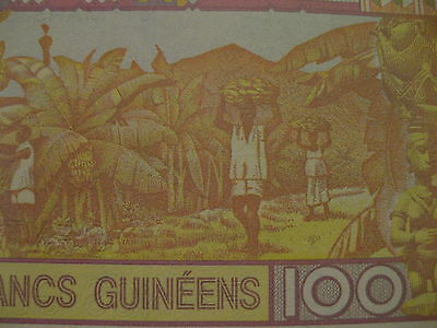 "Guinea 100 Francs Banknote Unc ""Banana Harvest"" very pretty paper money"