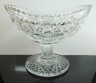 Antique 1890-1910 Brillant Period Footed Cut Glass Candy Dish s12-215