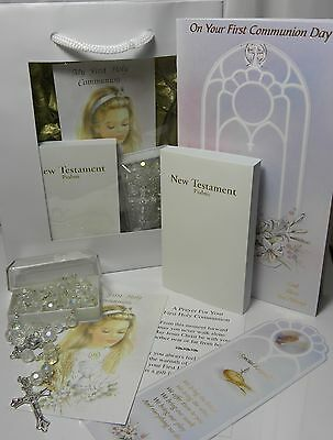 FIRST HOLY COMMUNION Girl's GIFT SET Bible CRYSTAL Rosary Beads PRAYER CARD