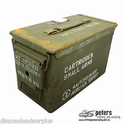 "50 CAL Ammo Box Ammunition Steel Box Tool Box Ex Army Used ""GRADE A"""