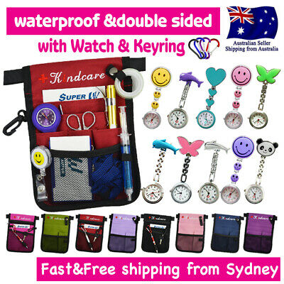 "NURSES POUCH WAIST WALLET ""extra pocket"" QUICK PICK BAG+KEYRING+CHROME WATCH"