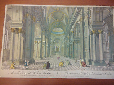 View of Inside St Pauls London Large, hand colored 1753