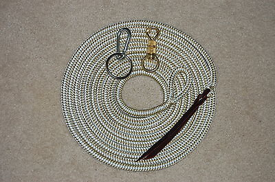22' Longe Line Lead Rope With/brass Snap & Ring/carabiner For Parelli Training
