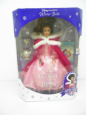 Vintage Mattel 1992 Disney Winter Belle Doll Nib Beauty And The Beast With Cape