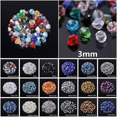 Lot Wholesale 500pcs 3mm Bicone Faceted Glass Crystal Finding Loose Spacer Beads