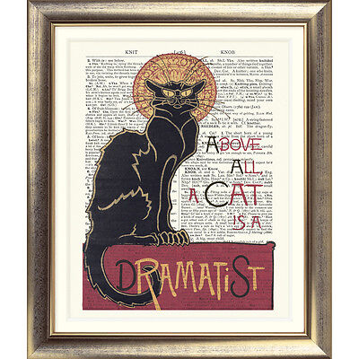 ART PRINT ON ORIGINAL ANTIQUE BOOK PAGE Cat Quote Art Nouveau Chat Noir Poster