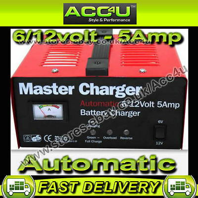 6v 12v 5 Amp 50Ah Car Bike Quad Boat Automatic Metal Case Battery Master Charger