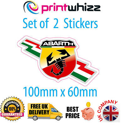 "Abarth 2 x 4""  Stickers Italian FIAT Decals Quality Printed Vinyl Label"