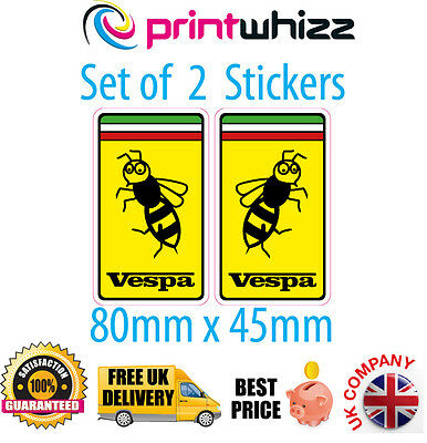 "Vespa Wasp 2 x 3"" 80mm Stickers Moped Decals Quality Printed Vinyl Label Sticker"